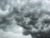 Cloudy dramatic dark gray stormy sky. Concept of danger presentiment. Cloudy dramatic dark gray stormy sky. Concept of drama and danger presentiment royalty free stock photo