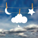 Cloudy drop moon star Royalty Free Stock Image