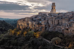 Cloudy dusk in Pitigliano Stock Photography