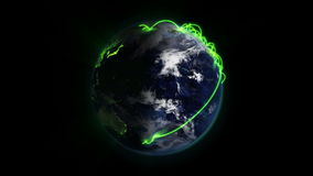 Cloudy Earth with green connections turning on itself with Earth image courtesy of Nasa.org stock video