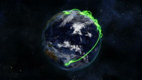 Cloudy Earth turning with green connections on itself with Earth image courtesy of Nasa.org stock footage