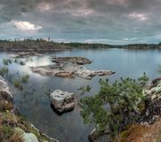Cloudy evening on lake Ladoga Royalty Free Stock Photos