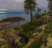 Cloudy evening on lake Ladoga royalty free stock photo