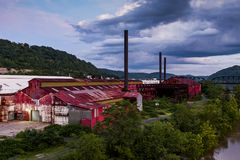 Cloudy Evening View - Abandoned Wheeling Steel Benwood Works. A late evening view of the abandoned Wheeling Steel Benwood Works in Benwood, West Virginia Royalty Free Stock Photography