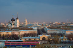 Cloudy evening Voronezh cityscape, railway station, cathedral Royalty Free Stock Images
