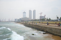 Cloudy evening on the waterfront in Colombo. Sri Lanka Royalty Free Stock Photos