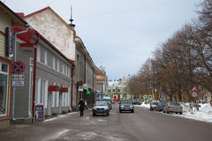Cloudy february day on the Kirov square. Sortavala, Karelia. SORTAVALA, RUSSIA - FEBRUARY 18, 2017: Cloudy February day on the Kirov square royalty free stock photography