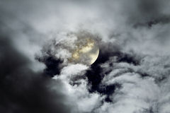 Cloudy full moon Royalty Free Stock Images