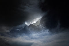 Cloudy full moon night Stock Image