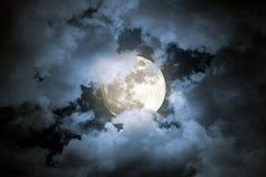 Cloudy full moon night. Beautiful cloudy full moon night Royalty Free Stock Photography