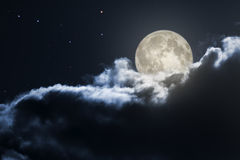 Cloudy full moon night Royalty Free Stock Photography