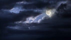 Cloudy full moon night. Sky stock image