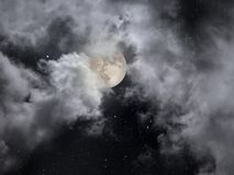 Cloudy full moon night with stars. Cloudy full moon night sky with stars stock photo