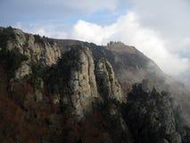 Cloudy Ghosts Vally. Demerdzhi Mountain Rocks. Cloudy Ghosts Vally. Demerdzhi Mountain Rocks And Plateau, Crimea, Ukraine Royalty Free Stock Photos