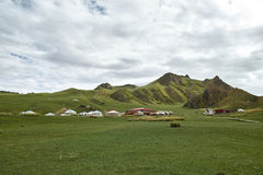 Cloudy grassland. Qinghai-Tibet Plateau royalty free stock images