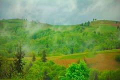 Cloudy green mountain landscape. Horizontal photo of cloudy green mountain landscape Royalty Free Stock Photos