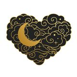 Cloudy heart with moon. Vector illustration. Black and gold silhouette of heart on white background. Vector template Royalty Free Stock Images