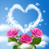 Cloudy heart and roses Royalty Free Stock Photo