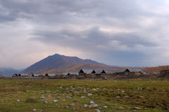 Cloudy Hemu Village. Photo in Hemu village, Xinjiang Stock Image