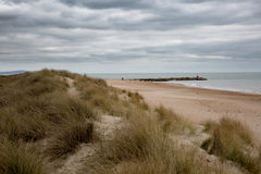 Cloudy Hengistbury head. View over the beach, Hengistbury head on a cloudy day Stock Photography