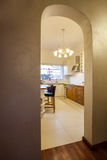 Cloudy home - arch door. Frame in beige home Royalty Free Stock Photography