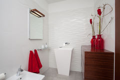 Cloudy home - bathroom stock photography