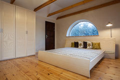 Cloudy home - bedroom. Cloudy home - bright bedroom interior, horizontal view Stock Photo