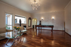Cloudy home - living room. Interior with billiard table Stock Photos