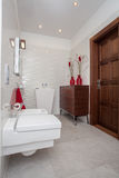 Cloudy home - small bathroom. Cloudy home - small but well-developed bathroom interior Stock Photo