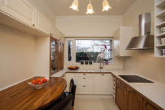 Cloudy home - spacious kitchen. With big window Royalty Free Stock Photo