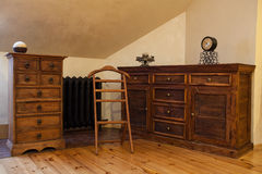 Cloudy home - vintage dresser. Cloudy home - brown wooden old fashioned dresser Stock Photo