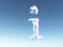 Cloudy i. Clouds make the shape of letter i in the sky - 3d illustration