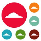 Cloudy icons circle set vector. Isolated on white background Stock Photo