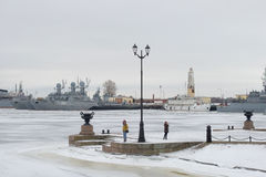 Cloudy January day in Petrovskaya Harbor. Kronstadt Stock Images