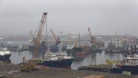 Cloudy January morning in the Bay of Ilyich. Baku cargo port, Azerbaijan. BAKU, AZERBAIJAN - JANUARY 04, 2018: Cloudy January morning in the Bay of Ilyich. Baku stock video
