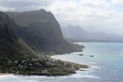 Cloudy Koolau's. The view looking north from Makapuu lighthouse Royalty Free Stock Image
