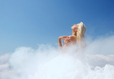 Cloudy lady in the blue sky Royalty Free Stock Photo