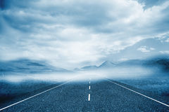 Cloudy landscape background with street Stock Photo