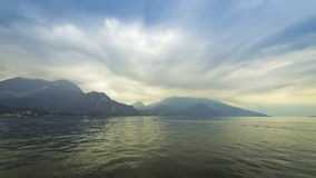 Cloudy landscape of Como Lake. Bellagio town, Italy. (Time Lapse stock footage