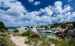 Cloudy landscape and granit rocks on sardinia italy Stock Photography