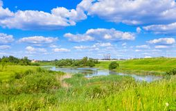 Cloudy landscape with pond Royalty Free Stock Photography