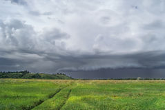Cloudy landscape. A thunder storm is coming. Stock Image
