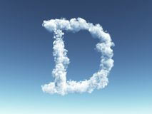 Cloudy letter D Royalty Free Stock Photo