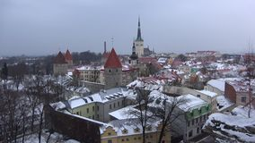 Cloudy March day in the old Tallinn. Estonia. Cloudy March day in the old Tallinn, Estonia stock footage