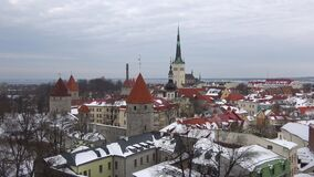 Cloudy March day in the old Tallinn. Estonia. Cloudy March day in the old Tallinn, Estonia stock video