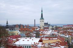 A cloudy March day over the Old City. Tallinn, Estonia. A cloudy March day over the Old City. Tallinn. Estonia stock photos