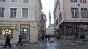 Cloudy March day on Pikk street. Tallinn, Estonia stock footage