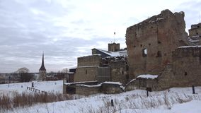 Cloudy March morning at the ruins of the medieval castle of the Livonian knights. Rakvere, Estonia. Cloudy March morning at the ruins of the medieval castle of stock footage