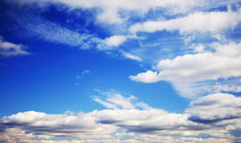 Cloudy midday blue sky Stock Images
