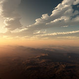 Cloudy And Misty Desert Sunset Stock Photography